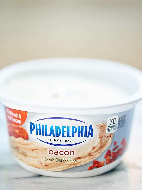 Bacon cream cheese spread container