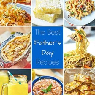 "These recipes are ""man approved"" and perfect for a Sunday BBQ. All of the Best Father's Day Recipes - starting with breakfast and ending with the most important... *cocktails* - are delicious and hearty, and some are even filled with booze. ;) showmetheyummy.com #fathersday #bbq #grilling #cocktails #breakfast #dinner #dessert #fathersdayrecipes"