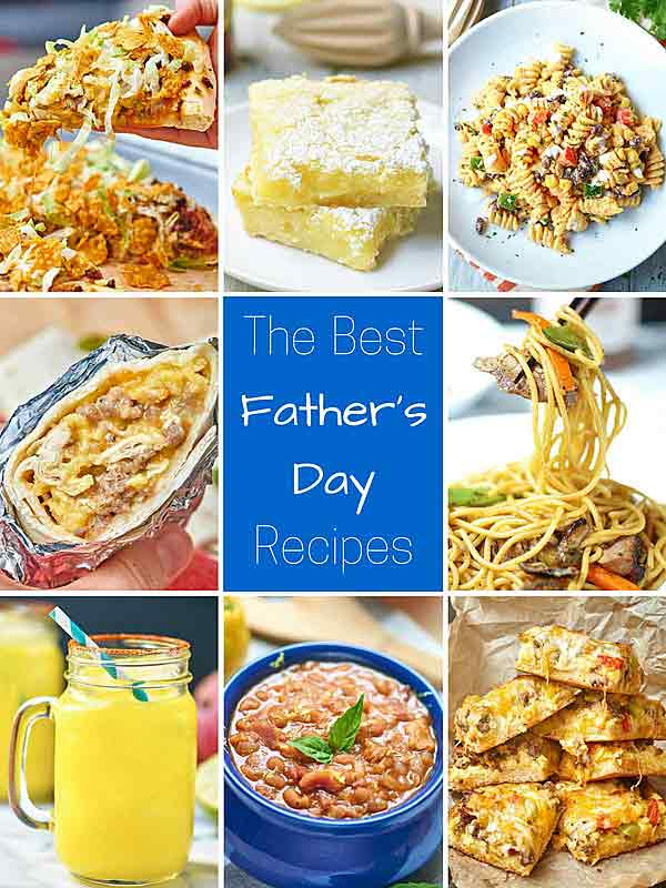 """These recipes are """"man approved"""" and perfect for a Sunday BBQ. All of the Best Father's Day Recipes - starting with breakfast and ending with the most important... *cocktails* - are delicious and hearty, and some are even filled with booze. ;) showmetheyummy.com #fathersday #bbq #grilling #cocktails #breakfast #dinner #dessert #fathersdayrecipes"""