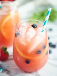 This Watermelon Sangria is summer in a glass! Fresh watermelon, strawberries, & lemons make it so seasonal! The addition of wine & vodka don't hurt either. showmetheyummy.com #sangria #summer #cocktails #watermelon #strawberries #vodka #wine