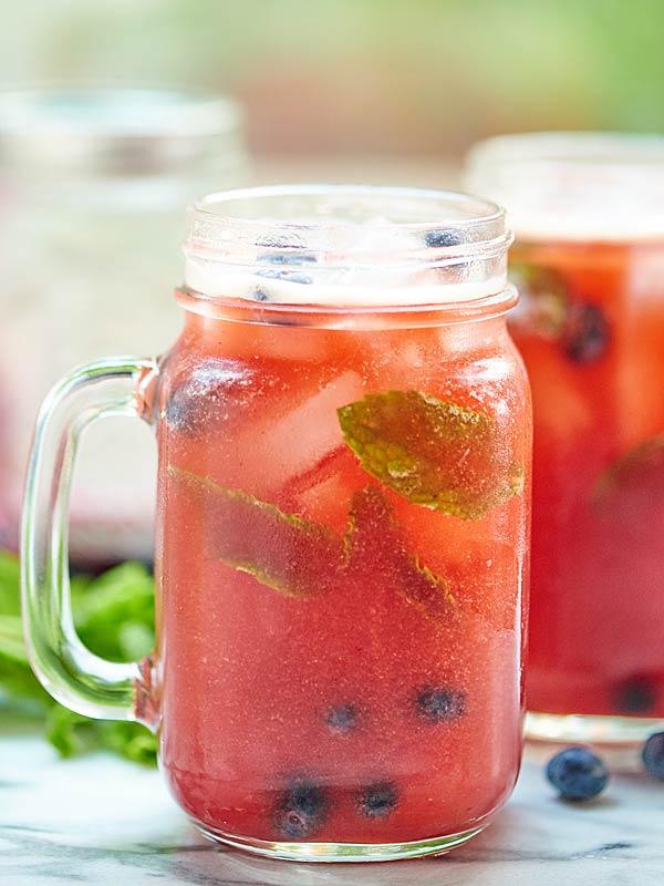 Blueberry Peach Mojito Summer Cocktail
