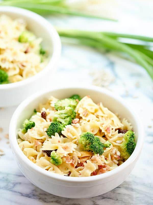 This broccoli salad recipe will definitely blow you away. Pasta, bacon, and broccoli? What could be better? This pasta salad is my go-to summer side dish! showmetheyummy.com #pastasalad #bacon