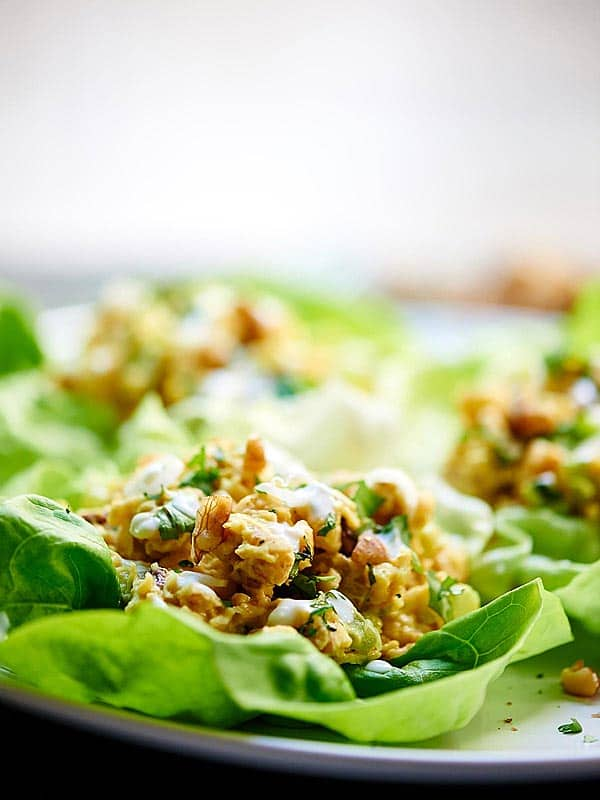 chickpea lettuce wraps on plate side view