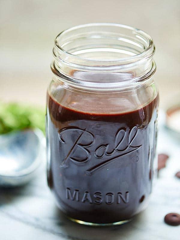 mason jar of hot fudge sauce
