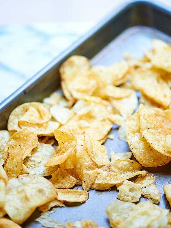chips on baking sheet