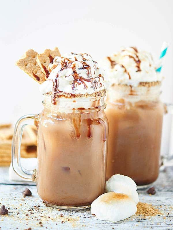 two jars of smores iced coffee side view
