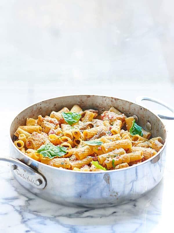 saute pan with pasta