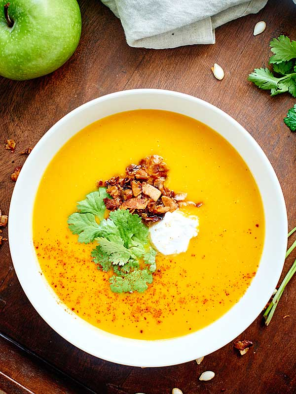 bowl of butternut squash soup above