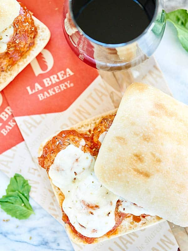 This Crockpot Meatball Sub Sandwich is made with a french baguette, an easy spaghetti sauce, juicy slow cooker meatballs, and fresh mozzarella cheese! showmetheyummy.com #meatball #crockpot #spon @labreabakery