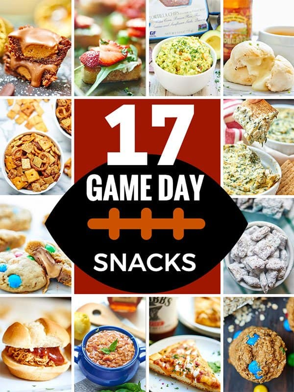 I've got you covered for game day w/ these easy Football Recipes & Game Day Snacks! Everything from apps & snacks to mains to sweet desserts! Are you ready for some football? showmetheyummy.com #football #fall #recipe #snack