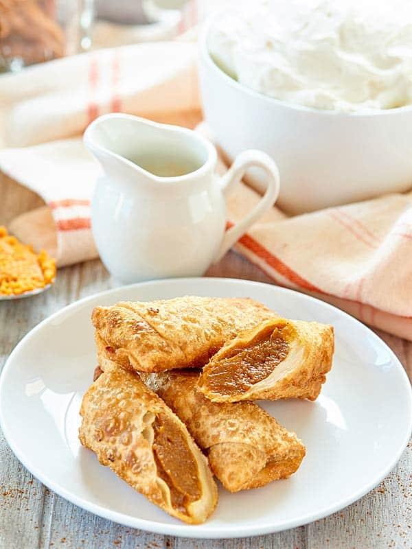 pumpkin pie egg rolls on plate