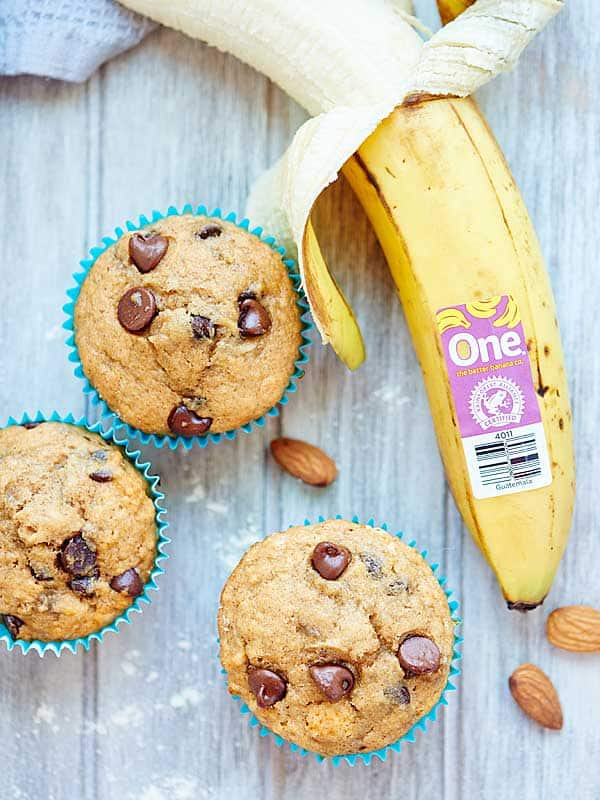 These Vegan Banana Chocolate Chip Muffins are healthy & use natural ingredients like agave, bananas, whole wheat pastry flour, coconut oil & almond milk! showmetheyummy.com #vegan #muffins