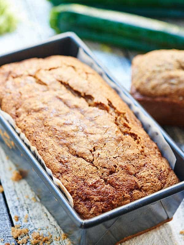 zucchini bread in loaf pan