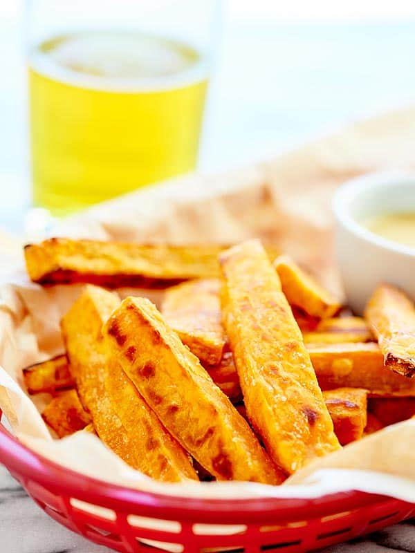 Basket of baked sweet potato fries