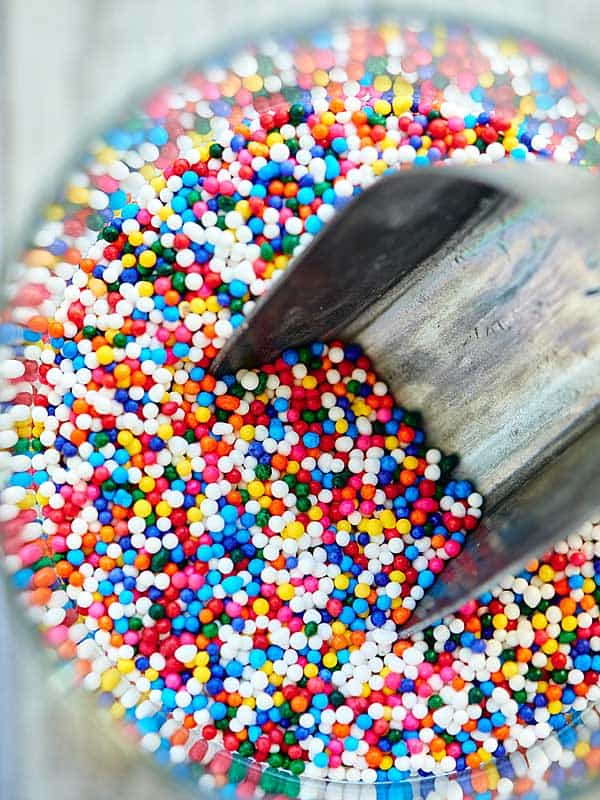 jar of sprinkles above