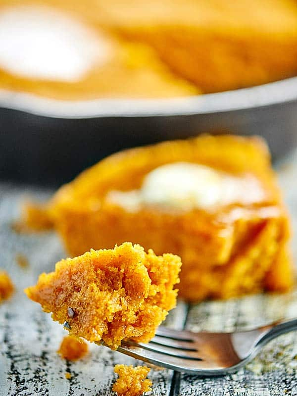 bite of cornbread on fork