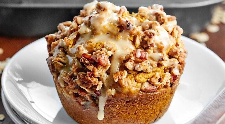 Vegan pumpkin muffin on a plate