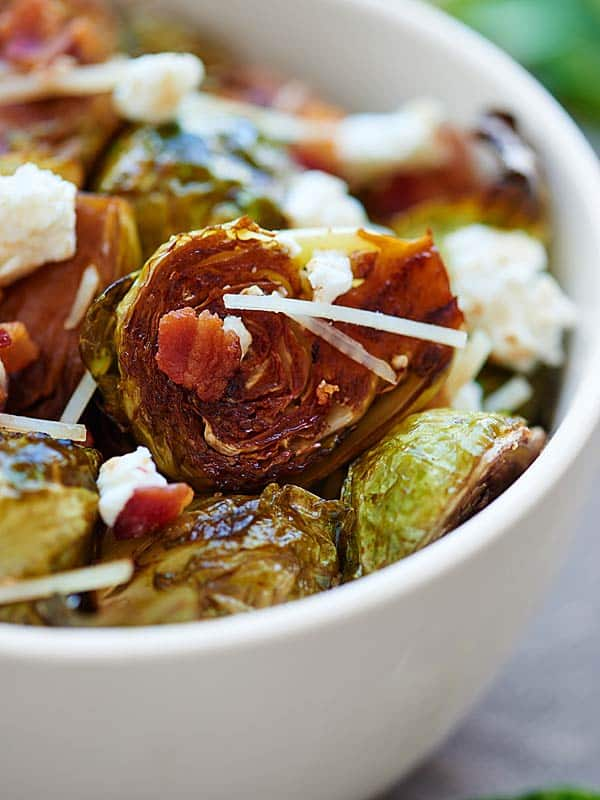 bowl of roasted brussels sprouts up close