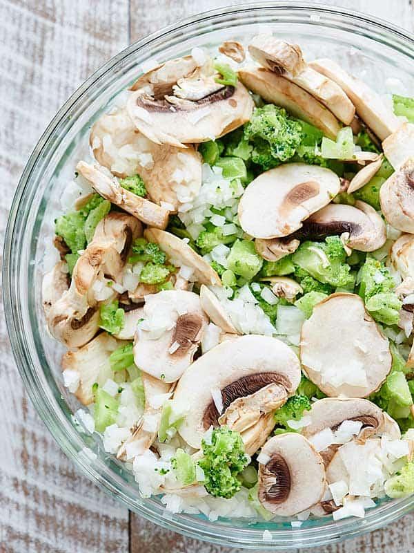 bowl of veggies above