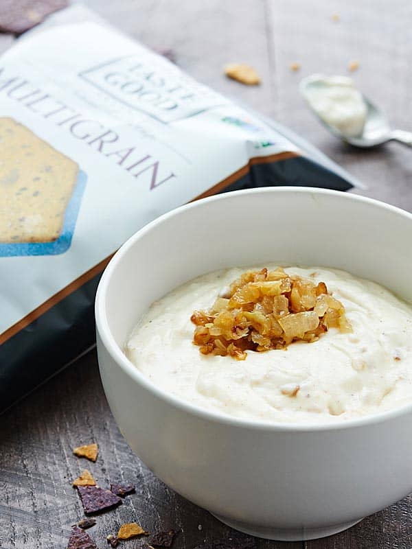 bowl of healthy french onion dip