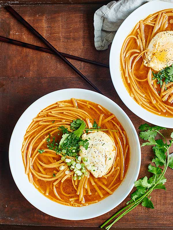 This One Pot Asian Noodle Soup is the perfect easy, healthy, vegetarian dinner! A twist on hot & sour soup, it's full of whole wheat noodles & poached eggs! showmetheyummy.com #healthy #vegetarian