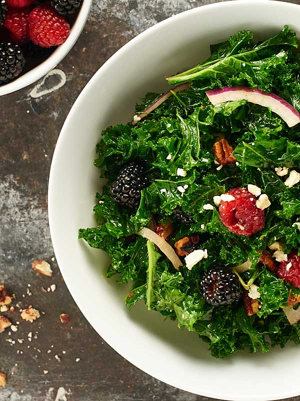 balsamic kale salad recipe w berries feta and pecans