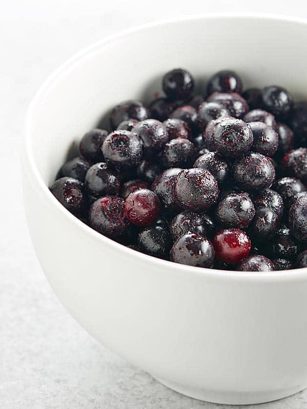 bowl of frozen blueberries
