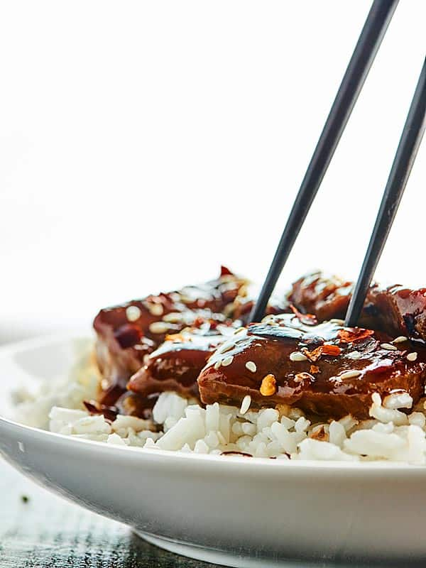 Mongolian beef and rice with chopsticks