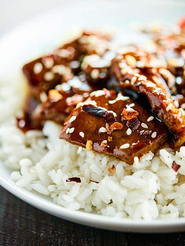 Closeup of Mongolian beef and rice