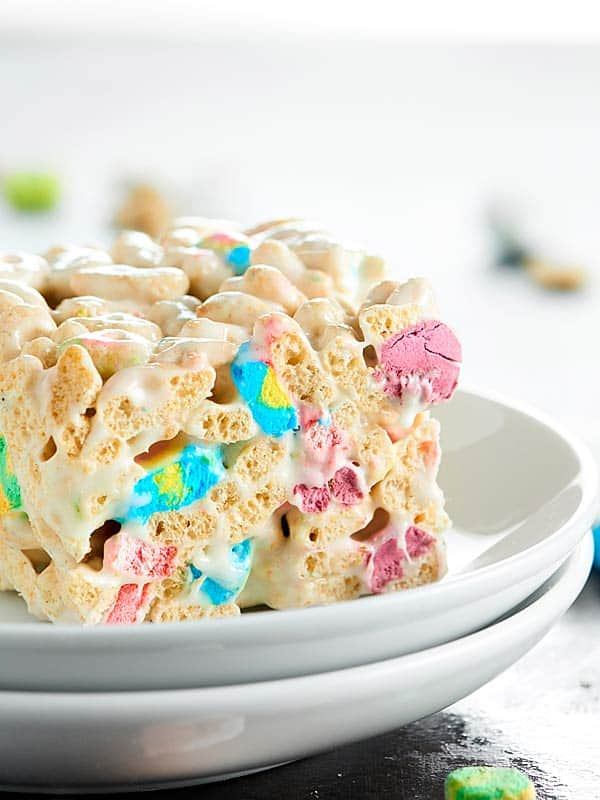 I love these Lucky Charms Marshmallow Treats, because they're crunchy, they're a little salty, so buttery, and hello, there are TWO kinds of marshmallows! showmetheyummy.com #ricekrispietreats #luckycharms