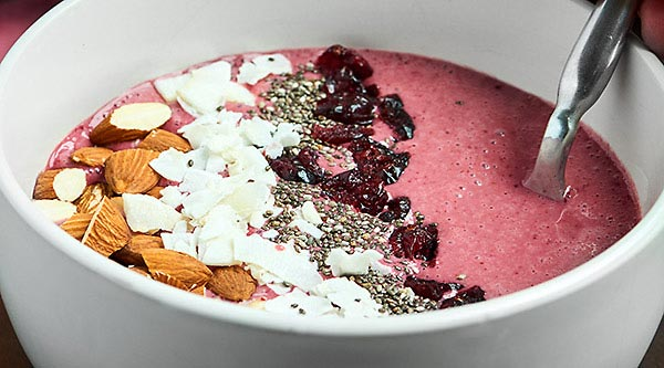 This Cherry Smoothie Bowl Recipe is so easy, healthy, and delicious! Made with only three ingredients: frozen cherries, greek yogurt, and Bai Ipanema Pomegranate, this smoothie bowl is the perfect healthy, gluten free breakfast or snack! showmetheyummy.com #smoothiebowl #cherry