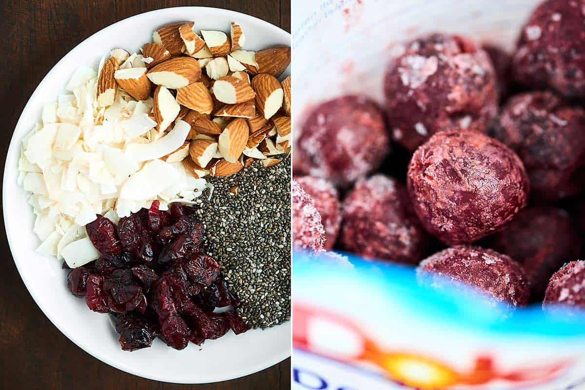 two pictures: plate of dried cherries, chia seeds, coconut, and almonds; frozen cherries
