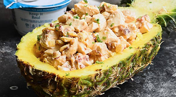 Tender chicken, sweet pineapple, spicy chipotle peppers, and a creamy, tangy sauce make this Chipotle Pineapple Chicken Salad truly flavorful, EASY and healthy! showmetheyummy.com #ad #chickensalad @chobani