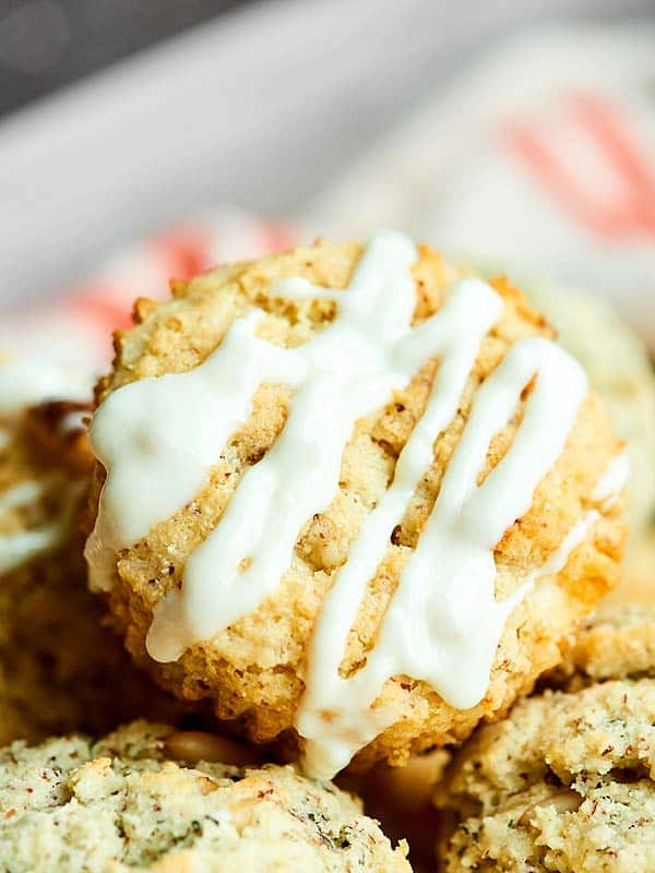 These Sweet and Savory Scones - Lemon Coconut White Chocolate & Pesto - are easy, made in a muffin tin, and have fluffy centers with crunchy exteriors! showmetheyummy.com #ad #scones @PamelasProducts