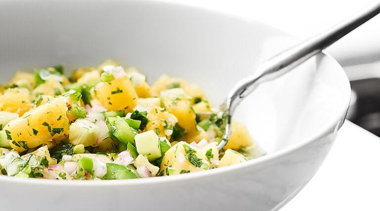 Bowl of pineapple salsa