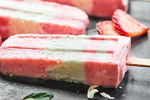 Strawberry Coconut Popsicles Recipe - w/ Greek Yogurt