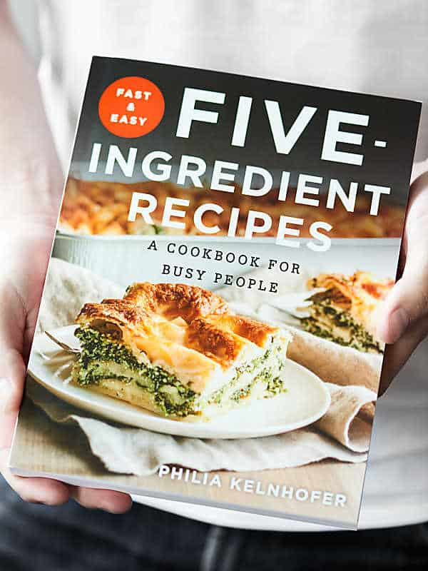 five ingredient recipe cookbook held