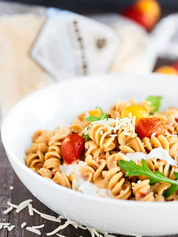 bowl of caprese mac and cheese