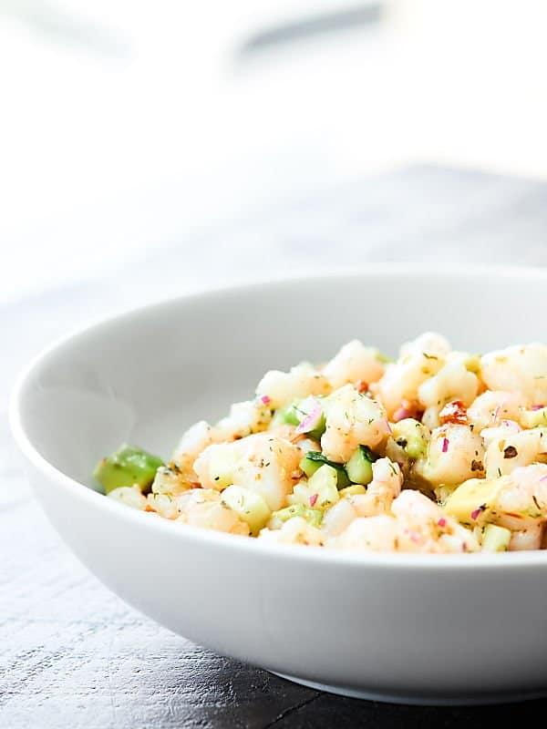 bowl of shrimp avocado salad