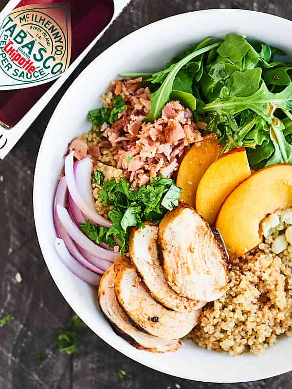 This Chipotle Chicken Salad is full of tender chicken, smokey bacon, creamy blue cheese, sweet peaches, and an amazingly tangy vinaigrette. SO easy, healthy, and delish! showmetheyummy.com Recipe made in partnership w/ @TABASCO #chickensalad #Tabasco10