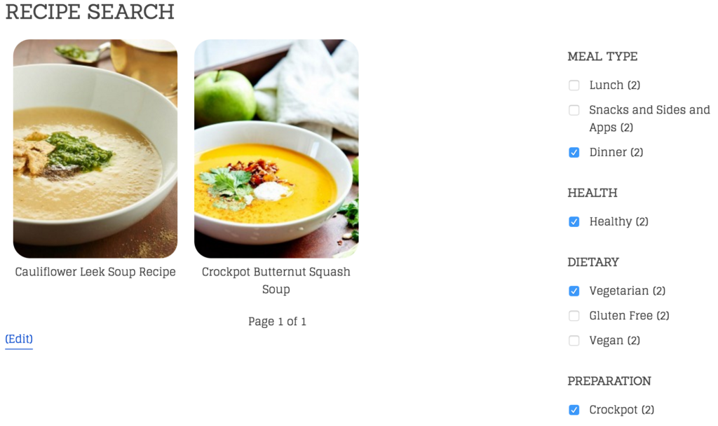 Recipe Search Example