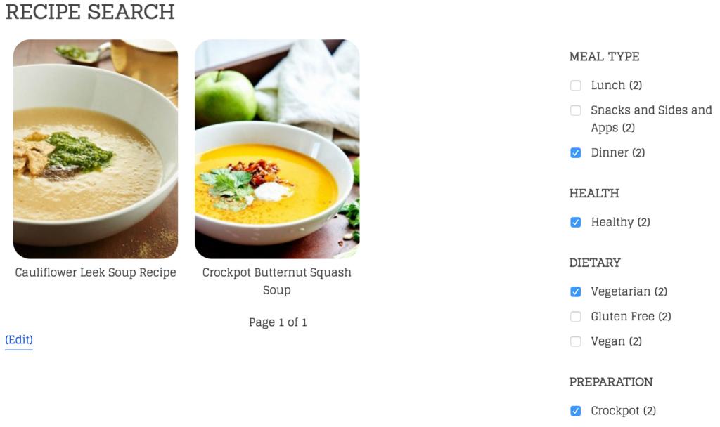 Recipe Search Example
