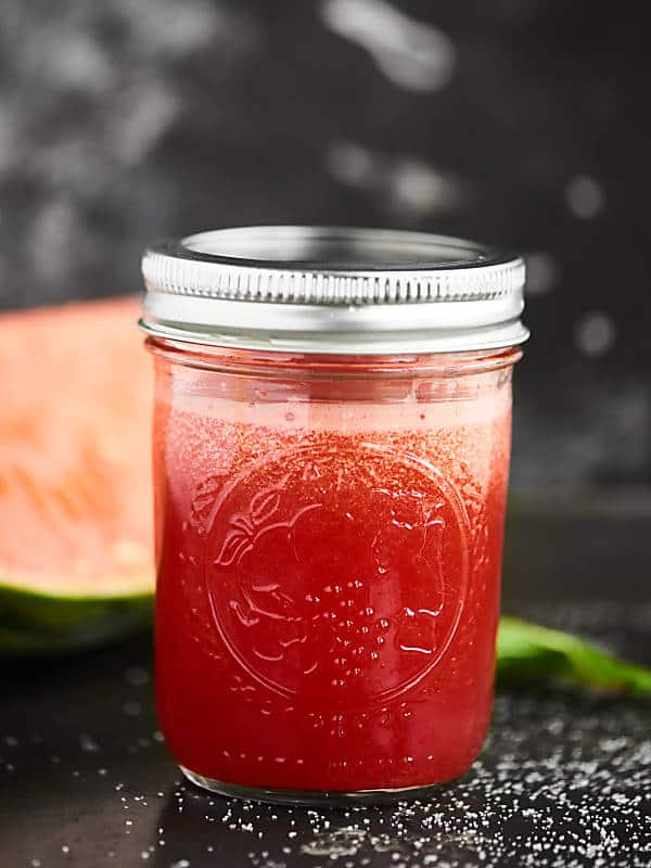 sparkling watermelon mojito in mason jar