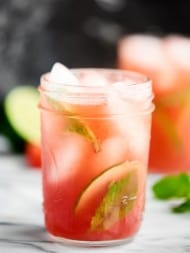 This Sparkling Watermelon Mojito is what summer is all about. Juicy watermelon, fresh mint, rum, and sparkling pinot grigio. . . so easy and refreshing! showmetheyummy.com Recipe made in partnership with @BarefootWine #watermelonmojito #pinotgrigio