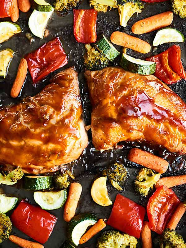 Veggies and turkey breast roasted on a sheet pan
