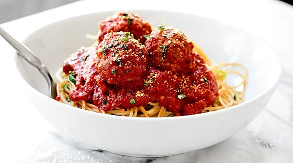 At only 60 calories, these Turkey Meatballs are the perfect, healthy, easy, weeknight meal. These are made without breadcrumbs, are gluten free, and are so juicy! showmetheyummy.com #glutenfree #turkeymeatballs