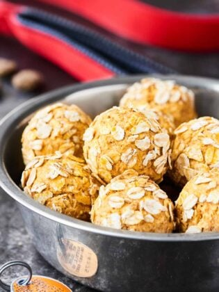 These Homemade Dog Treats are full of organic ingredients like pumpkin, peanut butter, bacon, applesauce, yogurt and require NO baking! Your fur baby will surely go nuts for these healthy, homemade treats! DISCLAIMER: As always, please consult your vet before introducing anything new into your dogs diet. showmetheyummy.com #dogtreats #homemade #healthy