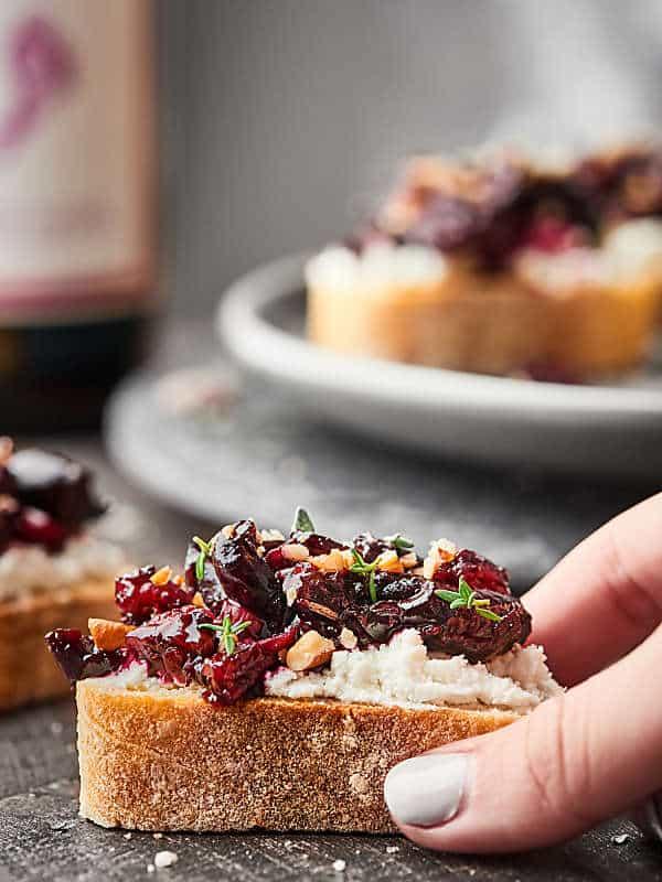 Cherry Bruschetta Recipe - Cherry Compote w/ Goat Cheese