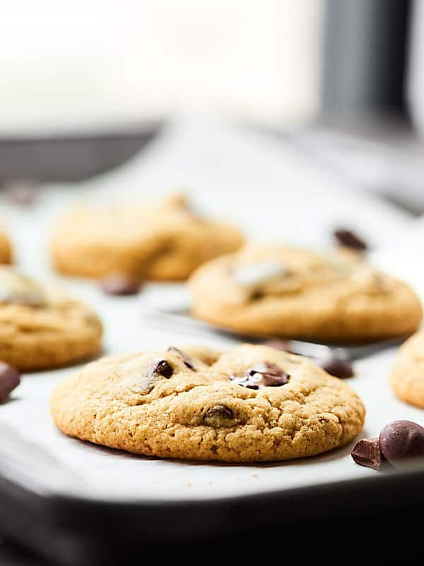 Gluten-free chocolate chip cookies on a tray