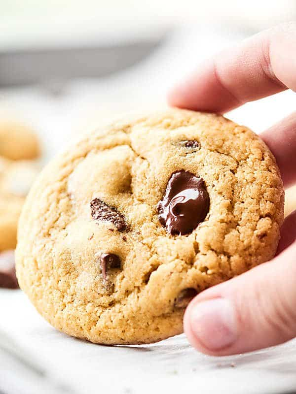 Gluten-free chocolate chip cookie being picked up
